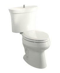 Kohler K-3461-45 Serif Round-Front Two-Piece Toilet with Polished Chrome Trip Lever - Wild Rose (Pictured in White)