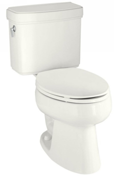 Kohler K-3485-58 Pinoir Comfort Height Toilet With Left Hand Trip Lever - Thunder Grey (Pictured in White)