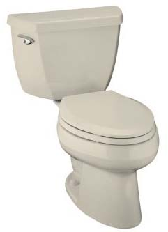 Kohler K-3531-47 Wellworth Two-Piece Elongated Toilet - Almond