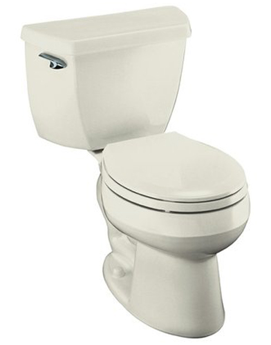Kohler K-3577-96 1.28 Gpf Round-Front Toilet with Class Five Flushing Technology and Left-Hand Trip Lever from the Wellworth Series - Biscuit