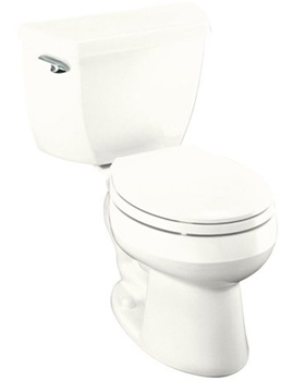Kohler K-3577-7 1.28 Gpf Round-Front Toilet with Class Five Flushing Technology and Left-Hand Trip Lever from the Wellworth Series - Black (Pictured in White)