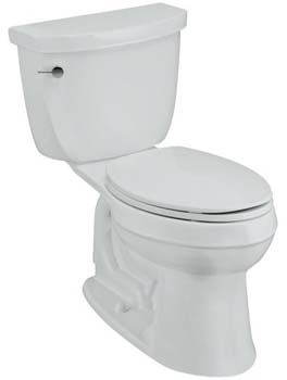 Kohler K-3589-0 Cimarron Comfort Height Elongated 1.6 gpf Toilet with Class 5 Technology and Left-Hand Trip Lever - White