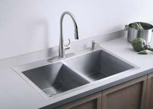 Kohler K 3820 3 Na Double Basin Kitchen Sink With Three
