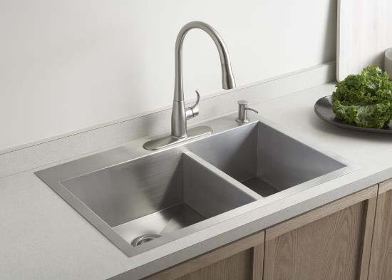 Kohler K 3823 1 Na Double Basin Kitchen Sink With One Hole Faucet Drilling From The Vault Series Stainless Steel