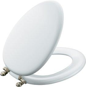 Kohler K-4701-CP-0 Kathryn Elongated Toilet Seat with Polished Chrome Hinges - White