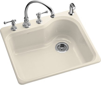 Kohler K-5802-3-47 Meadowland Self-Rimming Kitchen Sink With 3-Hole Faucet Drilling - Almond