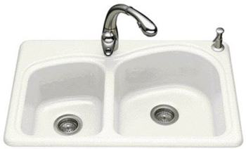 Kohler K-5805-4-96 Woodfield Self-Rimming Kitchen Sink- 4 Hole Faucet Drilling - Biscuit
