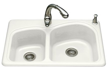 Kohler K-5805-4-0 Woodfield Self-Rimming Kitchen Sink- 4 Hole Faucet Drilling - White