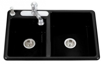 Kohler K-5813-4-7 Clarity Drop-In Double Bowl Kitchen Sink 4 Hole - Black