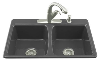 Kohler K-5815-3-7 Deerfield Self-Rimming Kitchen Sink With 3-Hole Faucet Drilling - Black