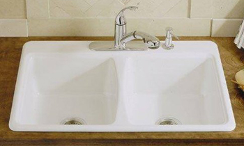 Kohler K-5815-3-0 Deerfield Self-Rimming Kitchen Sink With 3-Hole Faucet Drilling - White