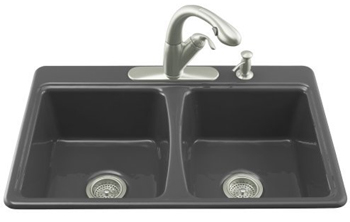 Kohler K-5815-4-7 Deerfield Self-Rimming Kitchen Sink With 4-Hole Faucet Drilling - Black