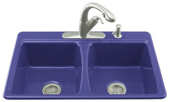 Kohler K-5815-4-30 Deerfield Self-Rimming Kitchen Sink With 4-Hole Faucet Drilling - Iron Cobalt
