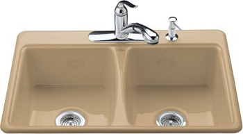Kohler K-5815-4-33 Deerfield Self-Rimming Kitchen Sink With 4-Hole Faucet Drilling - Mexican Sand