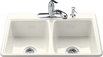 Kohler K-5815-4-0 Deerfield Self-Rimming Kitchen Sink With 4-Hole Faucet Drilling - White (Pictured in Biscuit)