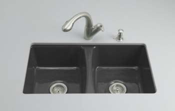 Kohler K-5815-5U-7 Deerfield Undercounter Kitchen Sink - Black