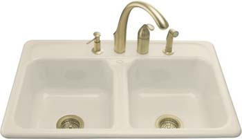 Kohler K-5817-3-96 Delafield Self-Rimming Kitchen Sink With 3-Hole Faucet Drilling - Biscuit