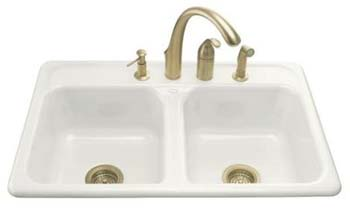 Kohler K-5817-3-0 Delafield Self-Rimming Kitchen Sink With 3-Hole Faucet Drilling - White