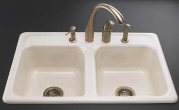 Kohler K 5817 4 96 Delafield Self Rimming Kitchen Sink With 4 Hole Faucet  Drilling   Biscuit