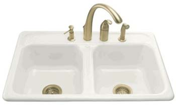 Kohler K-5817-4-0 Delafield Self-Rimming Kitchen Sink With 4-Hole Faucet Drilling - White