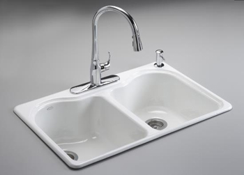 Kohler K-5818-4-96 Hartland Self-Rimming Kitchen Sink with Four-Hole Faucet Drilling - Biscuit