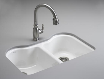 Kohler K-5818-5U-0 Hartland™ Double Equal Undercounter Sink with Five-Hole Faucet Drilling - White