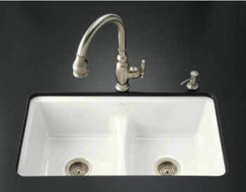 Kohler K 5838 7u Fd Deerfield Undercounter Smart Divide Cast Iron Kitchen Sink Cane Sugar Faucet And Accessories Not Included Pictured In White