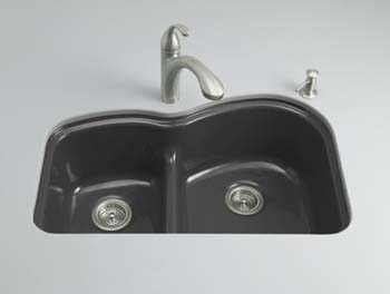 Kohler K-5839-5U-7 Woodfield Undercounter Smart-Divide Cast Iron Kitchen Sink - Black