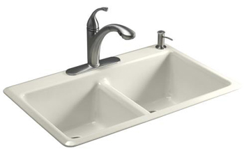 Kohler K-5840-1-96 Anthem Cast Iron Self-Rimming Kitchen Sink With Single Faucet Hole - Biscuit