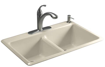 Kohler K-5840-1-7 Anthem Cast Iron Self-Rimming Kitchen Sink With Single Faucet Hole - Black (Pictured in Almond)