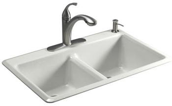 Kohler K-5840-1-FF Anthem Cast Iron Self-Rimming Kitchen Sink With Single Faucet Hole - Sea Salt