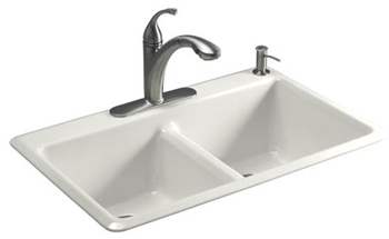 Kohler K5840-1-FP Anthem Cast Iron Self-Rimming Sink With Single-Hole Faucet Drilling - Cavier (Pictured in White)