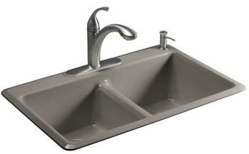Kohler K-5840-1-K4 Anthem Cast Iron Self-Rimming Kitchen Sink With Single Faucet Hole - Cashmere