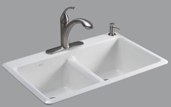 Kohler K-5840-1-33 Anthem Cast Iron Self-Rimming Kitchen Sink With Single Faucet Hole - Mexican Sand (Pictured in White)