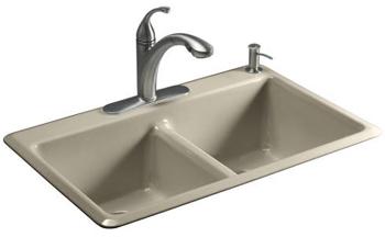 Kohler K-5840-1-G9 Anthem Cast Iron Self-Rimming Kitchen Sink With Single Faucet Hole - Sandbar