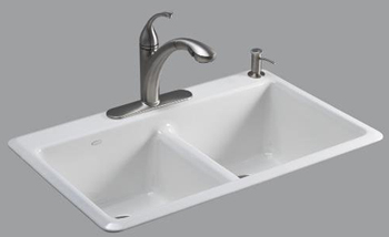 Kohler K-5840-1-58 Anthem Cast Iron Self-Rimming Kitchen Sink With Single Faucet Hole - Thunder Grey (Pictured in White)