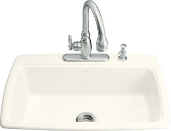 Kohler K-5863-2-96 Cape Dory Self-Rimming Kitchen Sink With 2-Hole Faucet Drilling - Biscuit
