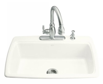 Kohler K-5863-2-0 Cape Dory Self-Rimming Kitchen Sink With 2-Hole Faucet Drilling - White