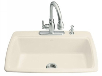 Kohler K-5863-3-0 Cape Dory Self-Rimming Kitchen Sink With Three-Hole Faucet Drilling - White (Pictured in Almond)
