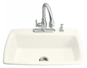 Kohler K-5863-4-96 Cape Dory Self-Rimming Kitchen Sink With 4-Hole Faucet Drilling - Biscuit