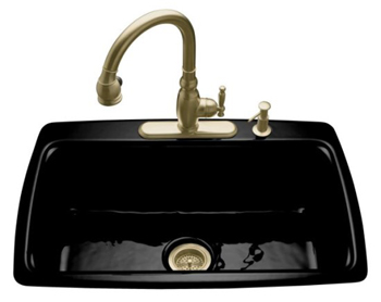 Kohler K-5863-4-7 Cape Dory Self-Rimming Kitchen Sink With 4-Hole Faucet Drilling - Black