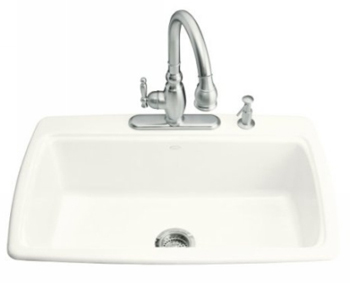 Kohler K-5863-4-0 Cape Dory Self-Rimming Kitchen Sink With 4-Hole Faucet Drilling - White