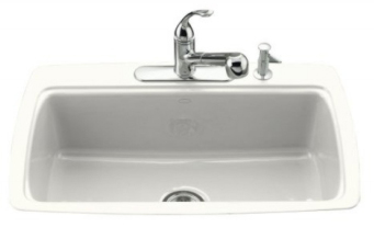 Kohler K-5864-4-0 Cape Dory Tile-In Kitchen Sink With 4-Hole Faucet Drilling - White