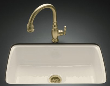 Kohler K-5864-5U-47 Cape Dory Undercounter Kitchen Sink - Almond