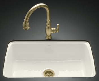 Kohler K-5864-5U-96 Cape Dory Undercounter Kitchen Sink - Biscuit