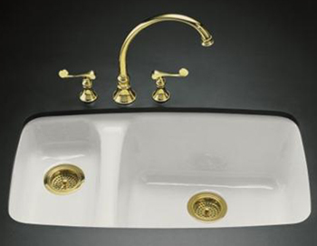 Kohler K-5924-5U-47LKF Lakefield Undercounter Sink With Installation Kit - Almond