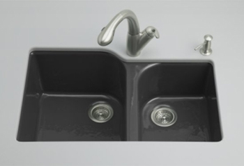 Kohler K-5931-4U-7 Executive Chef Undercounter Kitchen Sink - Black (Faucet and Accessories Not Included)