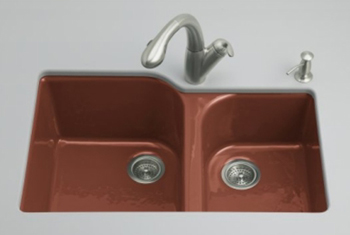 Kohler K-5931-4U-R1 Executive Chef Undercounter Kitchen Sink - Roussillon Red