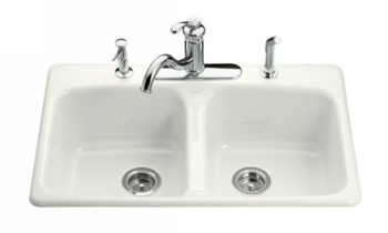 Kohler K-5981-4-0 Brookfield Self-Rimming Kitchen Sink with Four-Hole Faucet Drilling - White (Faucet and Accessories Not Included)