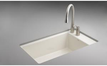 Kohler K-6410-2-FD Indio Undercounter Single Basin Sink with Two-Hole Faucet Drilling - Cane Sugar (Faucet and Accessories Not Included)(Pictured in Biscuit)